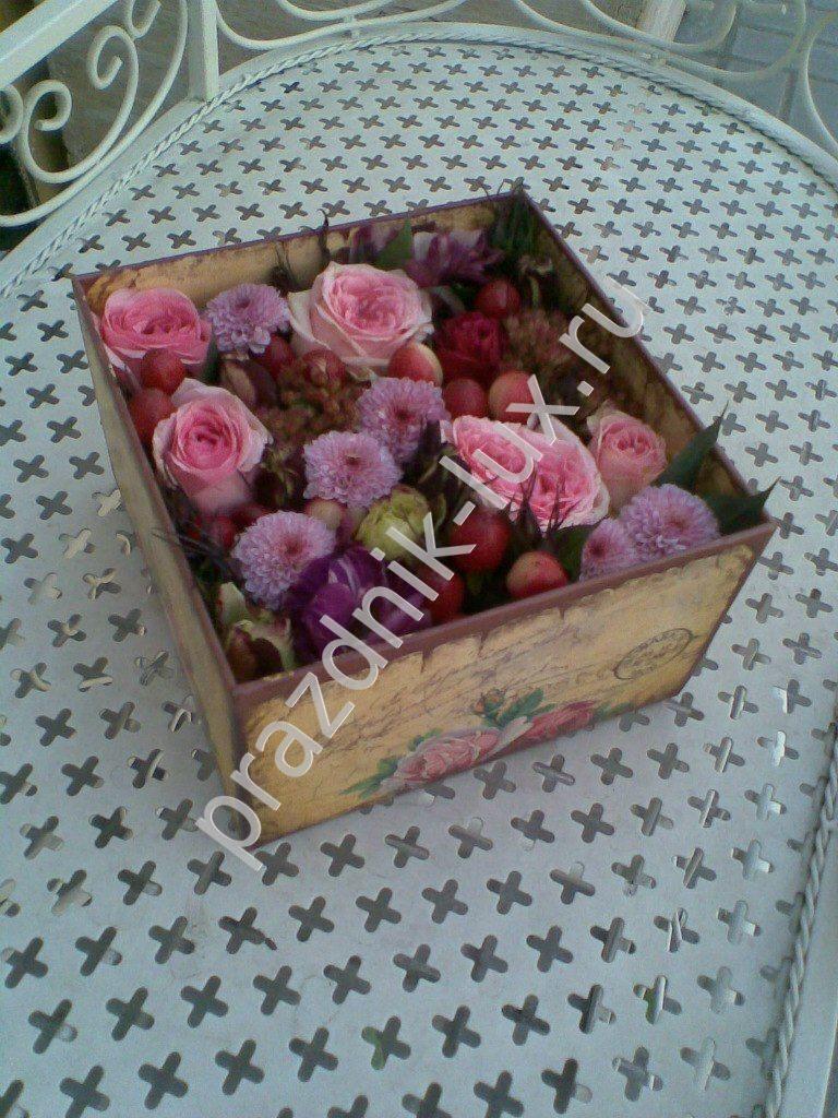 Мастер класс цветы в коробке фото